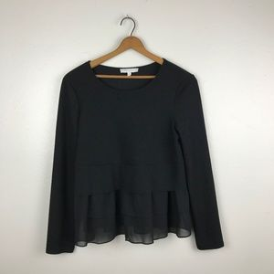 Anthropologie Silk Ruffle Black Knit Long Sleeve M